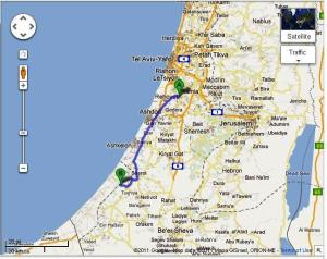 Map of Gaza-Rechovot