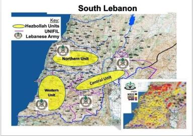 Area of Hezbollah's control in Lebanon
