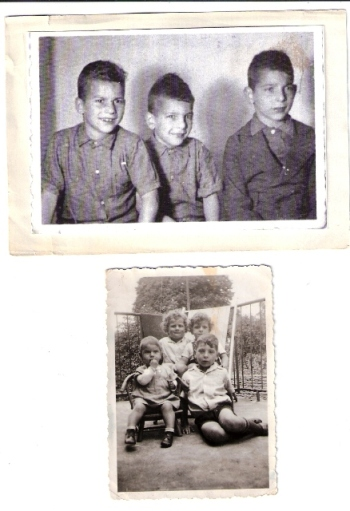 "Above: David, Uri and Elchanan HY""DBelow: The 3 brothers with Judith תבדל""א"