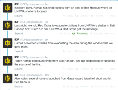Screenshot of IDF Spokesman's Twitter feed