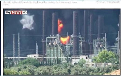 Screenshot of burning Gaza power plant via Sky News