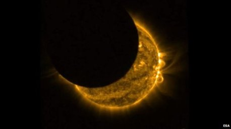 Solar eclipse 20th March 2015. Picture taken from space