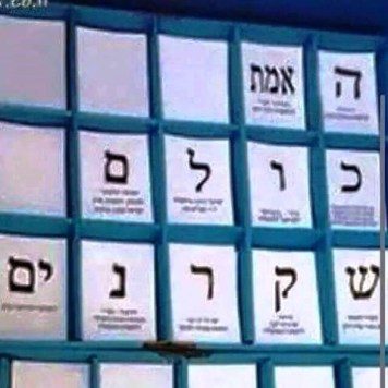 "Voting slips for the Israeli elections. Each letter-slip represents a different party.   They have been arranged to spell out ""The truth is they are all liars""."