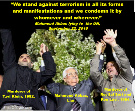Mahmoud Abbas, the congenital liar, stands with his terrorist friends